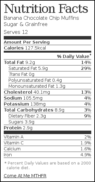 Nutrition label for Banana Chocolate Chip Muffins Sugar & Grainfree