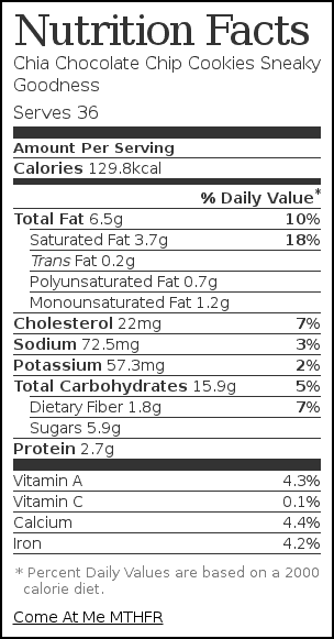 Nutrition label for Chia Chocolate Chip Cookies Sneaky Goodness