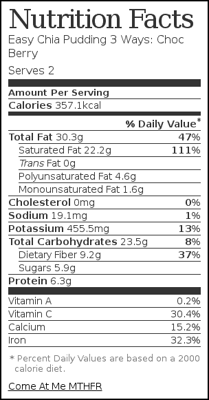 Nutrition label for Easy Chia Pudding 3 Ways: Choc Berry